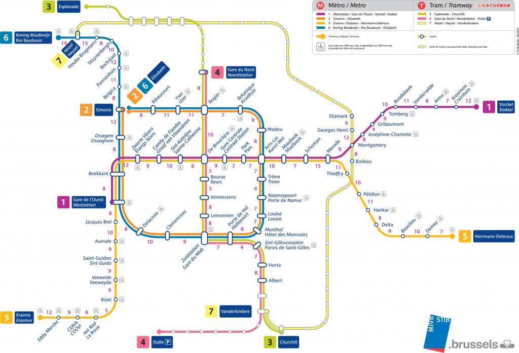 carte métro bruxellois stib à pieds