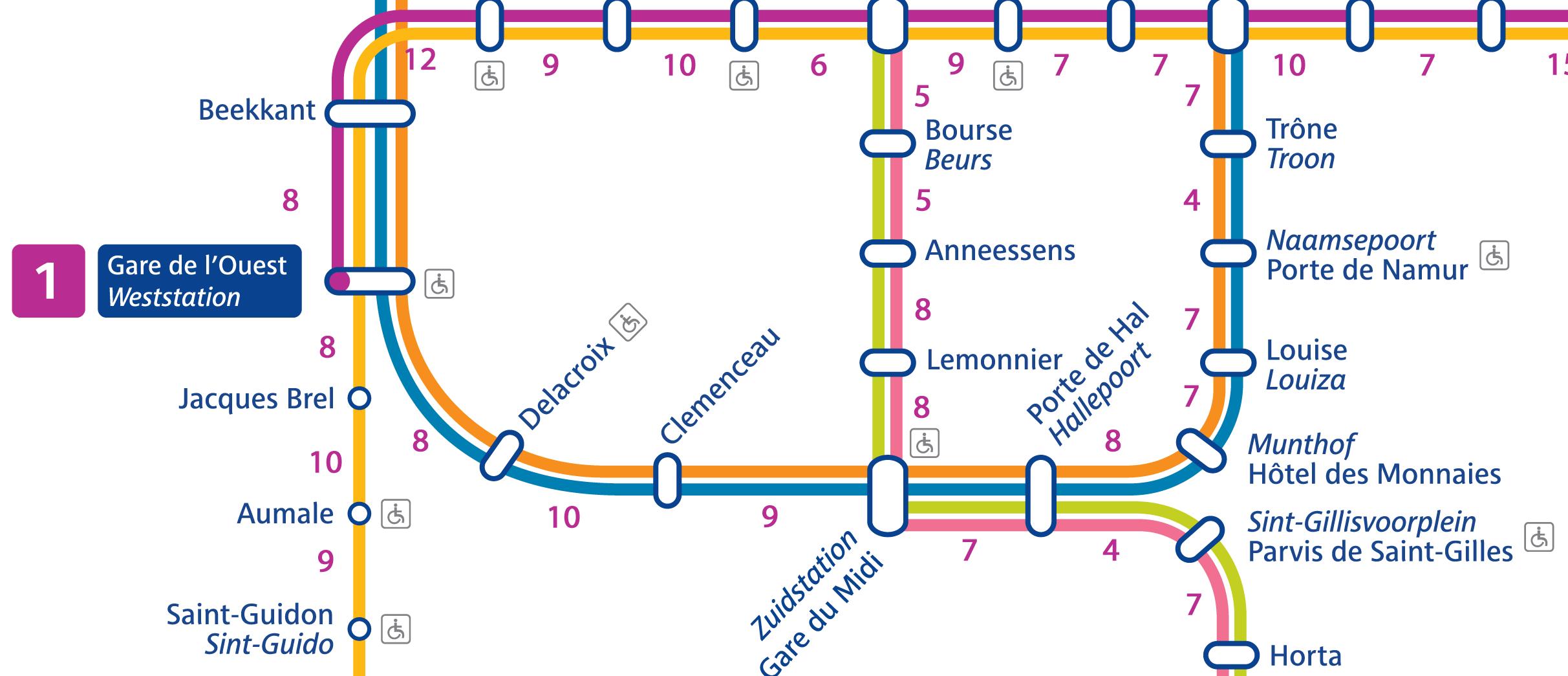 La carte du métro bruxellois en temps de marche