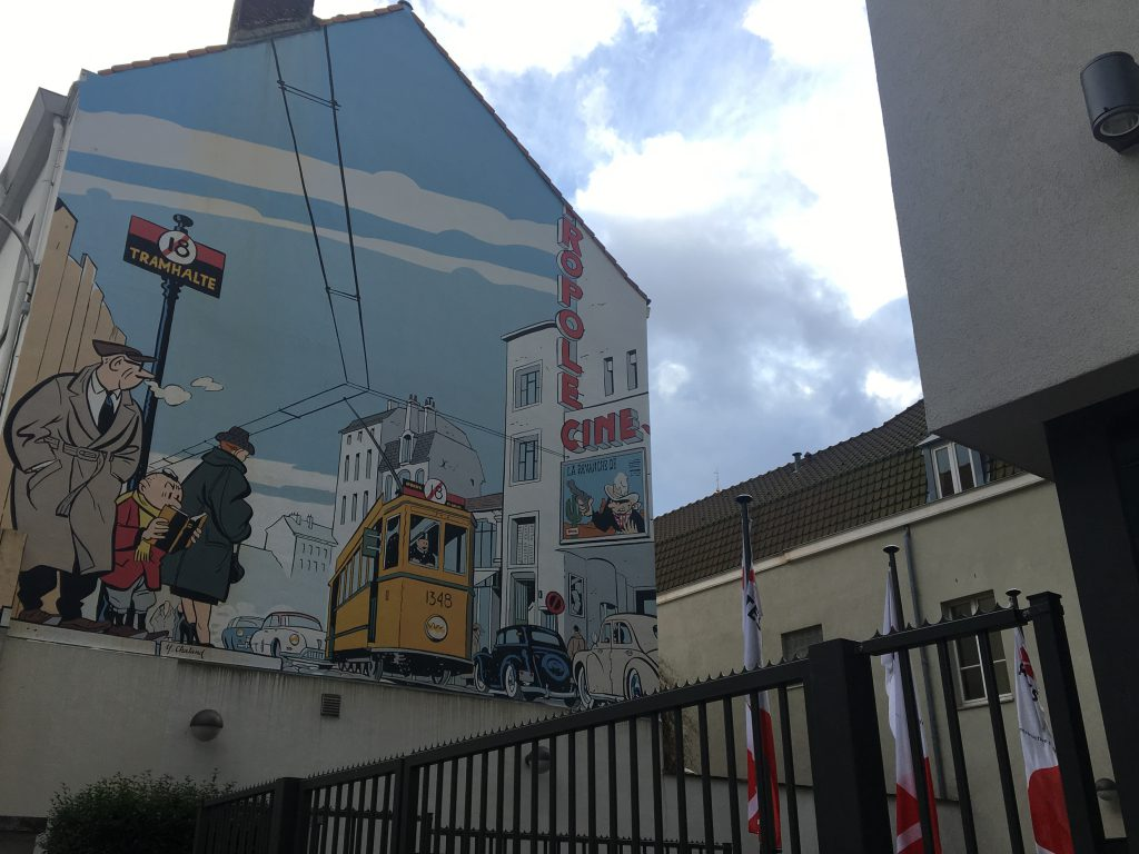 muurschildering tram