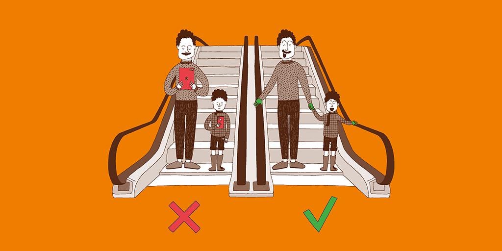 Faites de l'escalator votre ami en respectant les consignes de sécurité !