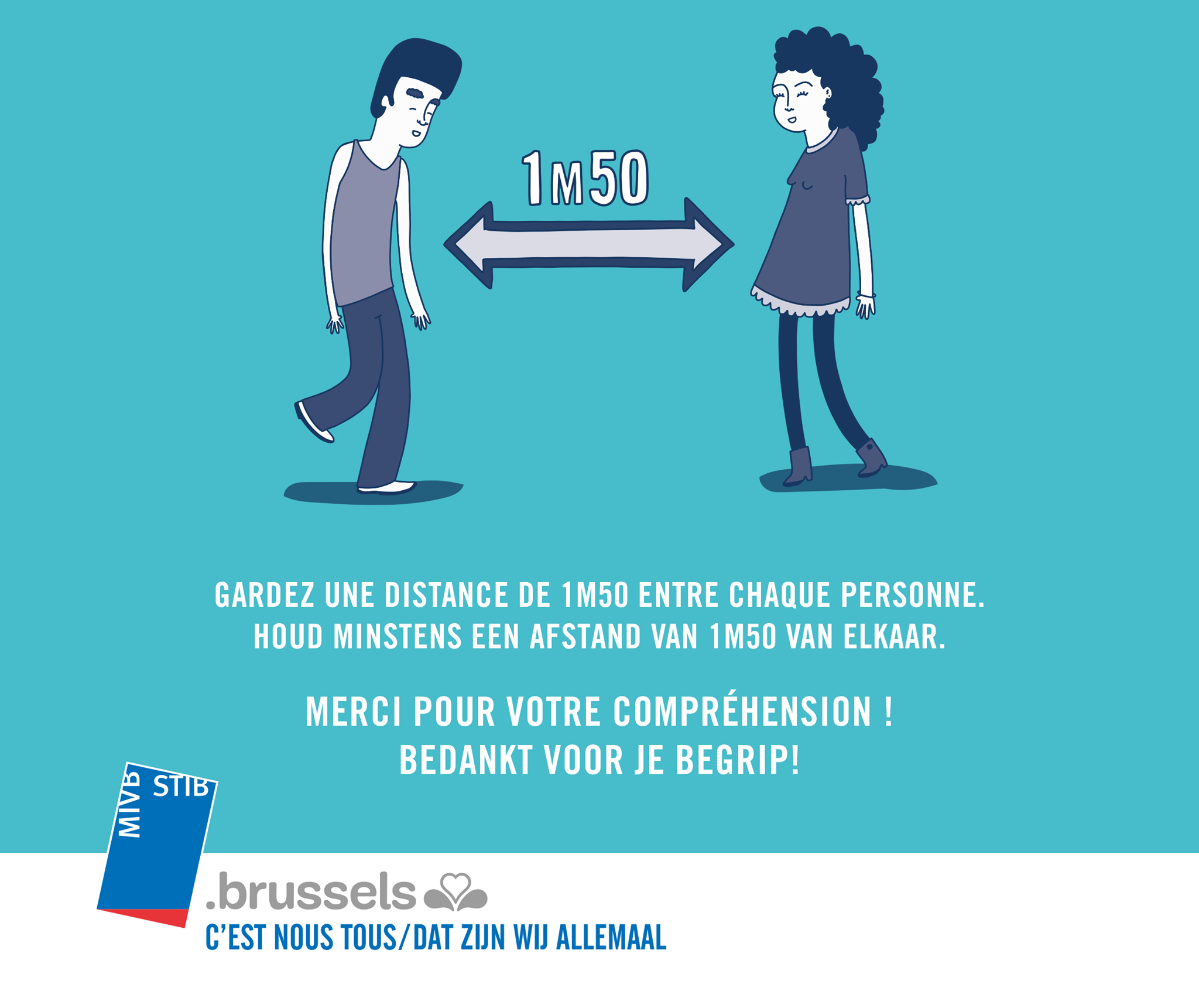 covid-19 stib distanciation sociale recommandations officielles